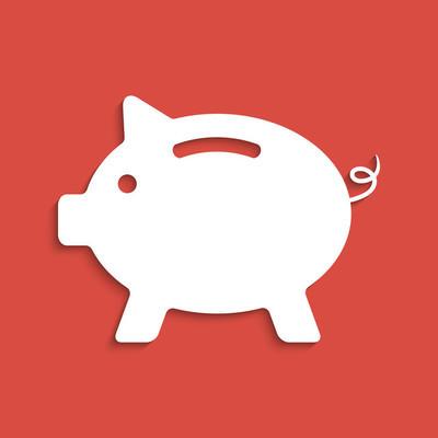 暗红色背景上的白色小猪银行图标