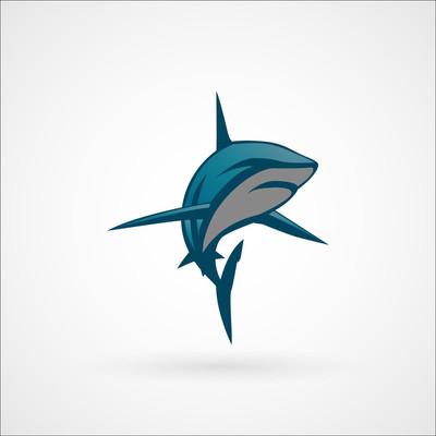 鲨鱼蓝色 logo 标志矢量图孤立