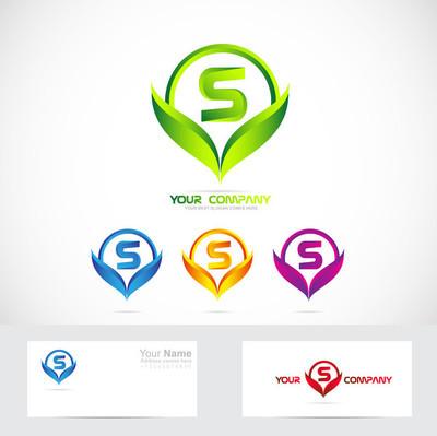 Letter S green leafs logo set