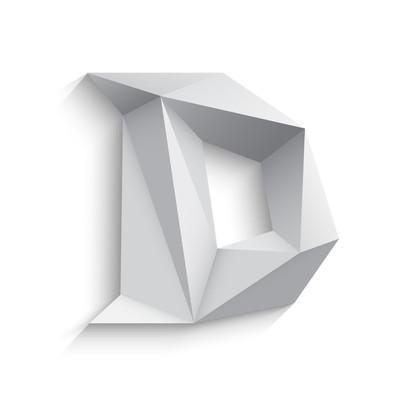 Vector illustration of 3d letter D on white background.