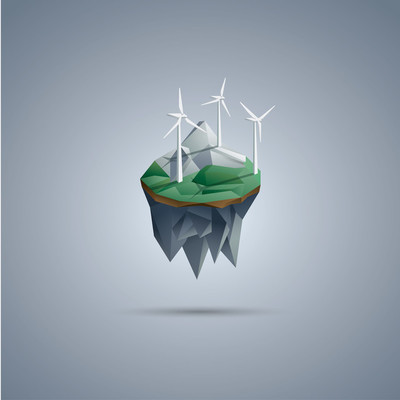 Wind turbines on low poly floating island. Renewable energy environment symbol in modern polygonal design.
