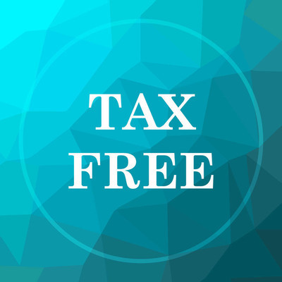 Tax free icon. Tax free website button on blue low poly background