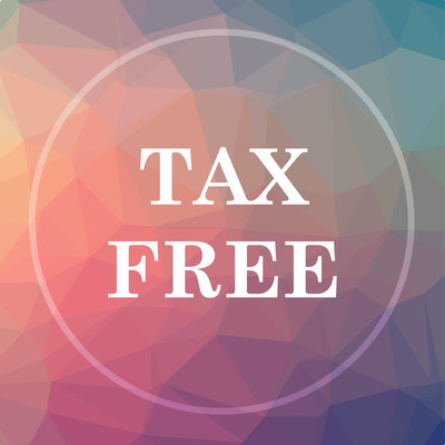 Tax free icon. Tax free website button on low poly background