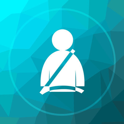 Safety belt icon. Safety belt website button on blue low poly background
