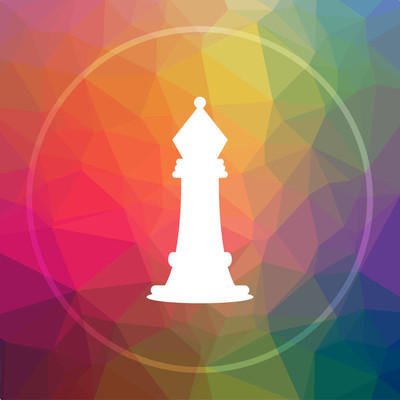 Chess icon. Chess website button on low poly background