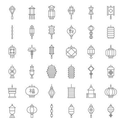 农历新年的中式灯笼与元素和中文字母的意思运气, 轮廓图标, 像素完美