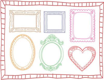 组彩色手绘涂鸦框架