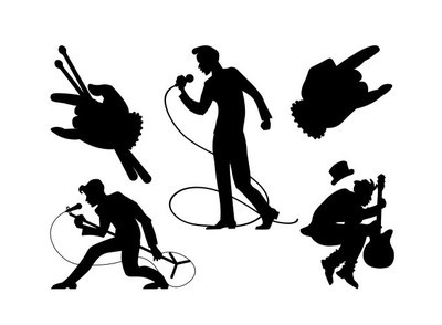 poster to the world day of rock n roll with silhouettes of sing