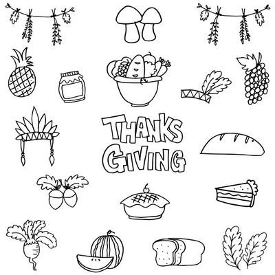 涂鸦的感恩节元素手绘