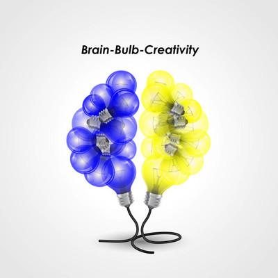 彩色灯泡标志设计和创意的大脑思想理念