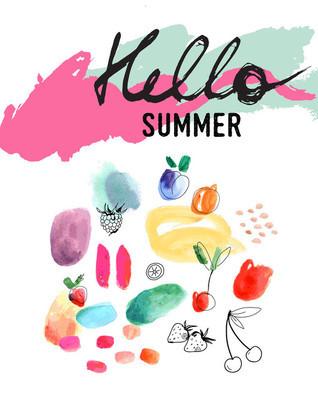 Creative poster Hello Summer. Watercolor art.