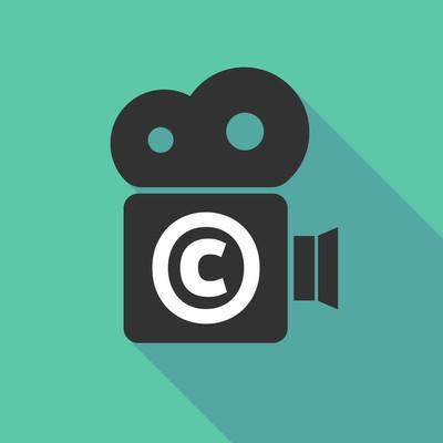 长阴影摄像机图标与版权符号