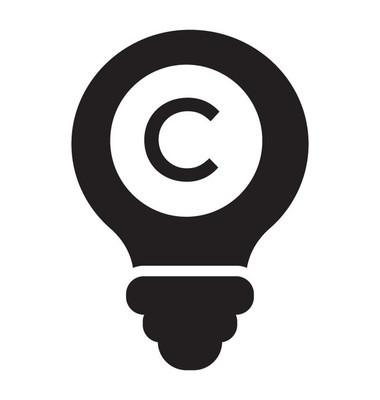 带 c 符号的灯泡是版权图标矢量