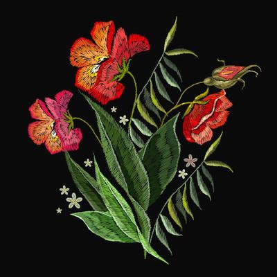 刺绣玫瑰服装设计。绣花玫瑰花