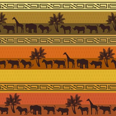 非洲风格背景与野生动物和抽象的符号