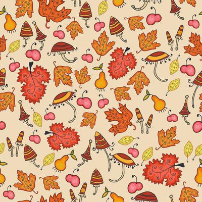 可爱秋季感恩节花卉无缝