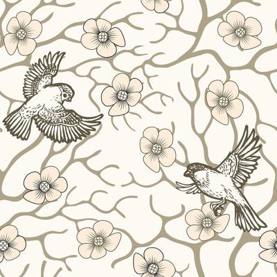 樱花与鸟儿的无缝花纹