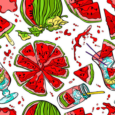 Watermelon. Seamless vector pattern (background).