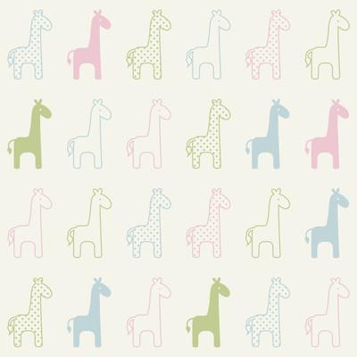无缝的长颈鹿卡通图案