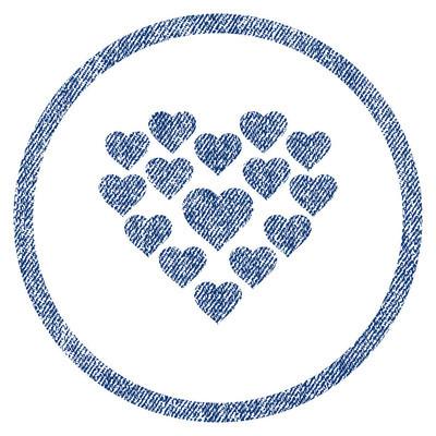 爱的心形状圆形的织物纹理的图标