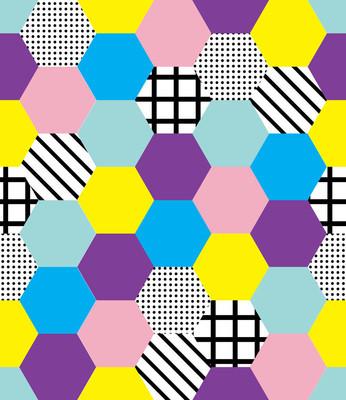 具有彩色几何形状的无缝孟菲斯风格图案