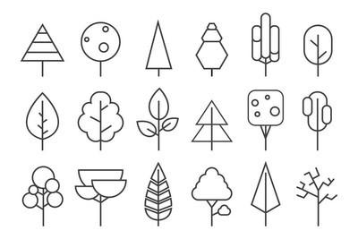 设置的矢量线的树木。森林创意图标