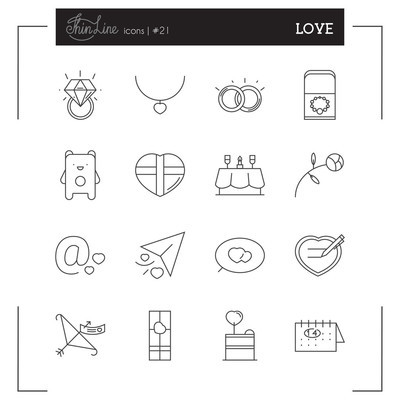 Valentines day, Love, Romantic and more line icons.