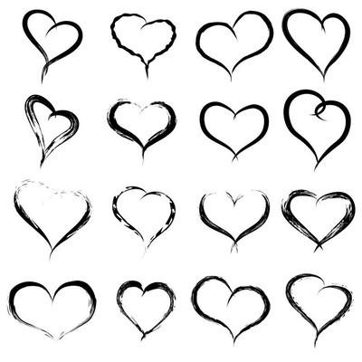 画的心形状或爱符号集