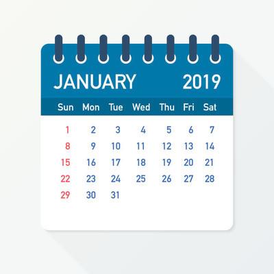 2019年1月日历叶。日历2019扁平样式。向量例证