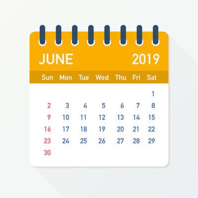 2019年6月日历叶。日历2019扁平样式。向量例证