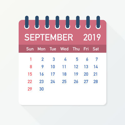2019年9月日历叶。日历2019扁平样式。向量例证