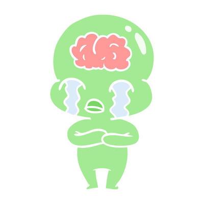 扁平颜色风格动画片大脑外星哭泣