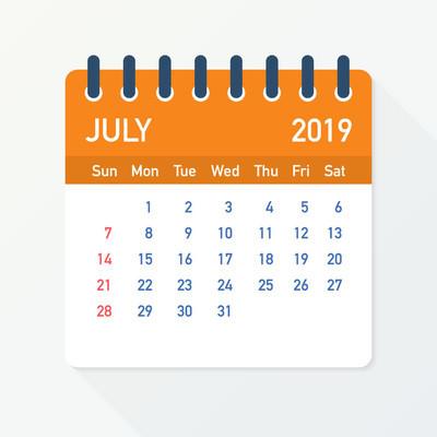 2019年7月日历叶。日历2019扁平样式。向量例证