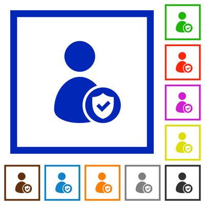 用户帐户受保护的扁平框架图标