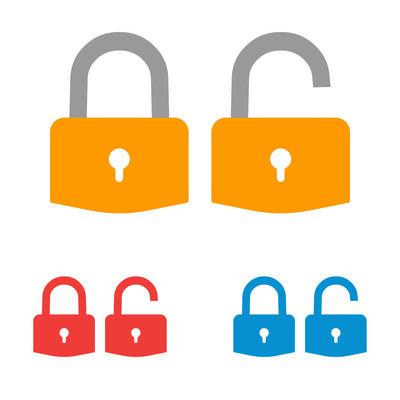 """""""锁定"""" 图标。挂锁标志。解 锁。向量例证。扁平设计"""