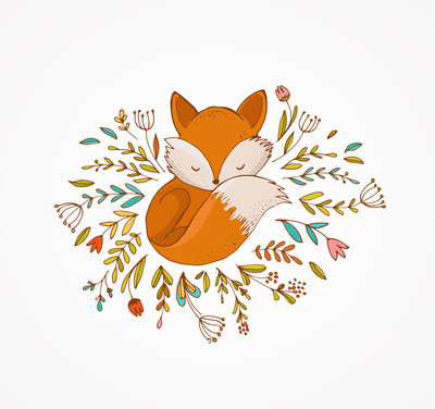Fox sleeping on the flowers -  lovely illustration and card