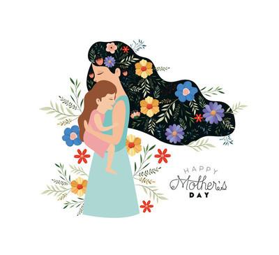 母亲节快乐母亲举起一个女儿