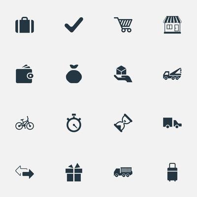 矢量图组的简单的交付图标。元素货运卡车,面包车,完整和其他同义词方向、 行李和存储