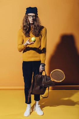 时尚男子网球和木球拍, 黄色