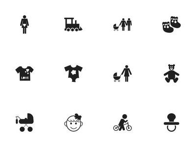 12可编辑婴儿图标集。包括年轻时尚, 家庭, 奶嘴等符号。可用于 Web、移动、Ui 和信息设计