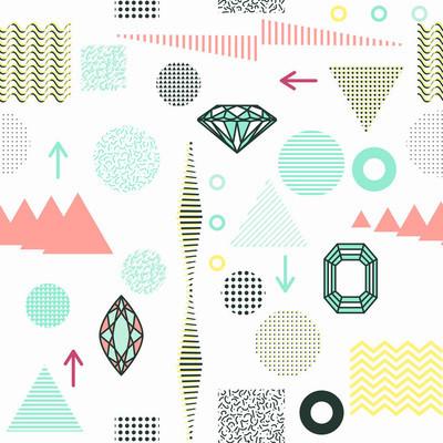 时尚的几何元素孟菲斯卡,无缝模式