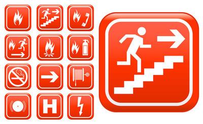 组的红色应急消防安全标志