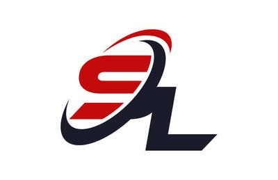Sl 标志旋风全球红字母矢量概念