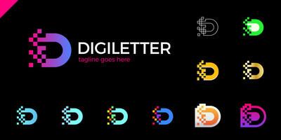 商业企业字母 D 标志设计矢量。多彩字母 D 标志矢量模板。字母 D 标志技术。像素徽标