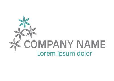 矢量-花 logo,白色背景上分离。矢量图