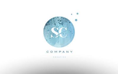 Sc s c  watercolor grunge vintage alphabet letter logo