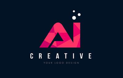 一我的 ai 字母徽标与紫色的低聚粉色三角形概念