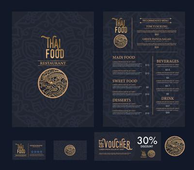 矢量泰国菜餐厅菜单模板