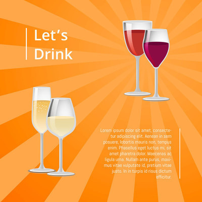 Lets Drink Poster Pair Glasses Vector Two Drinks
