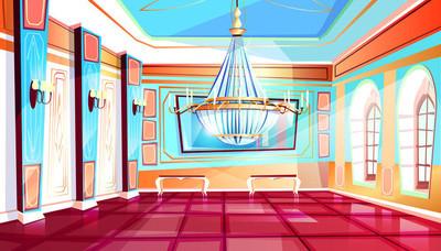 带吊灯矢量图示的宴会厅
